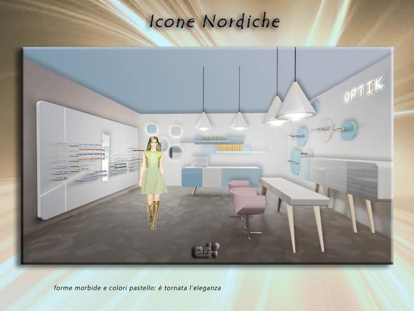 arredamento negozio ottica atmosfere ICONE NORDICHE